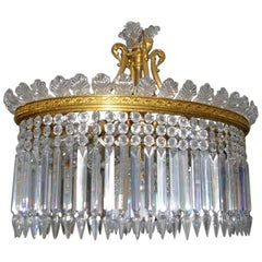 Baccarat Crystal Chandelier, Thirteen-Light Gilt Bronze, France, 20th Century