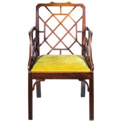 18th Century English George III Chinese Chippendale Cockpen Armchair