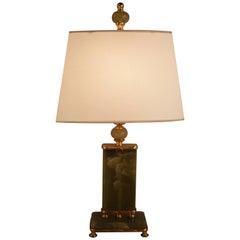 American Green Onyx Art Deco Table Lamp