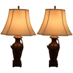Pair of Art Nouveau Urn Table Lamps by Auguste Moreau