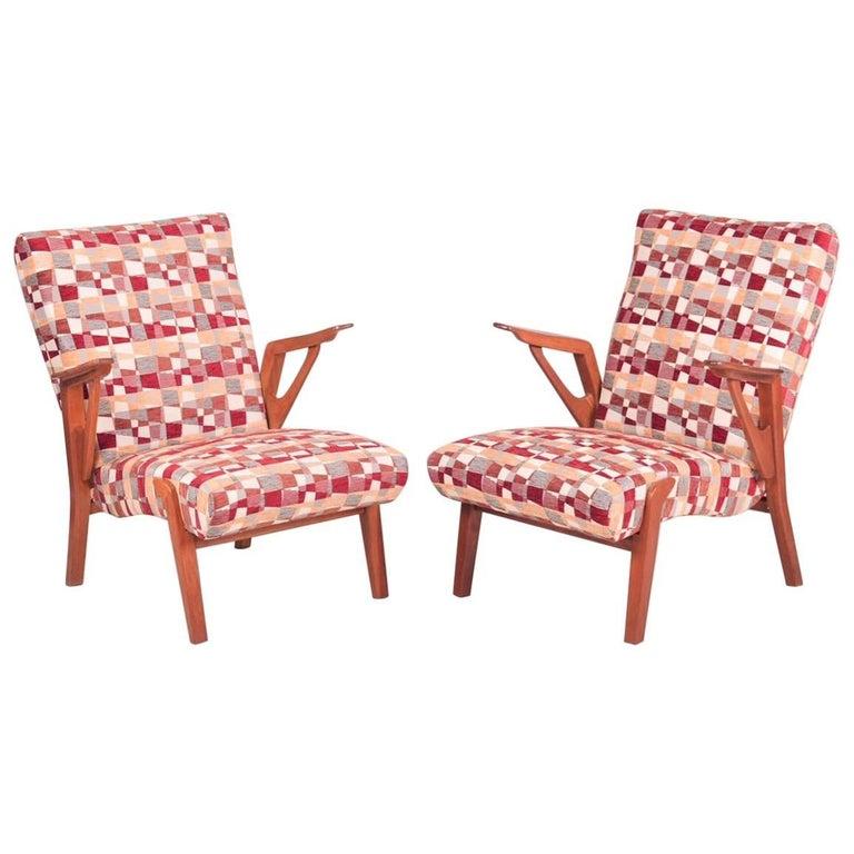 Pair of Mid-Century Oak Armchairs, 1960s, Czechoslovakia For Sale