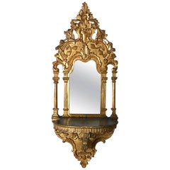 18th Century Ottoman Giltwood Turban Stand or Wall Bracket