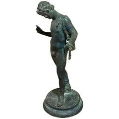 Grand Tour Bronzeskulptur von Narziss mit Feigenblatt, 19. Jahrhundert