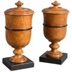 Pair of Early 19th Century Karelian Birch Biedermeier Covered Treen Urns