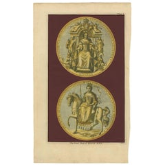 Antique Print of the Great Seal of Queen Anne by Rapin de Thoyras (c.1780)