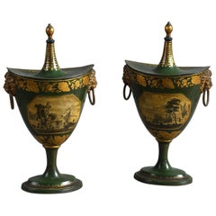 Pair of Early 19th Century George III Green Toleware Covered Chestnut Urns