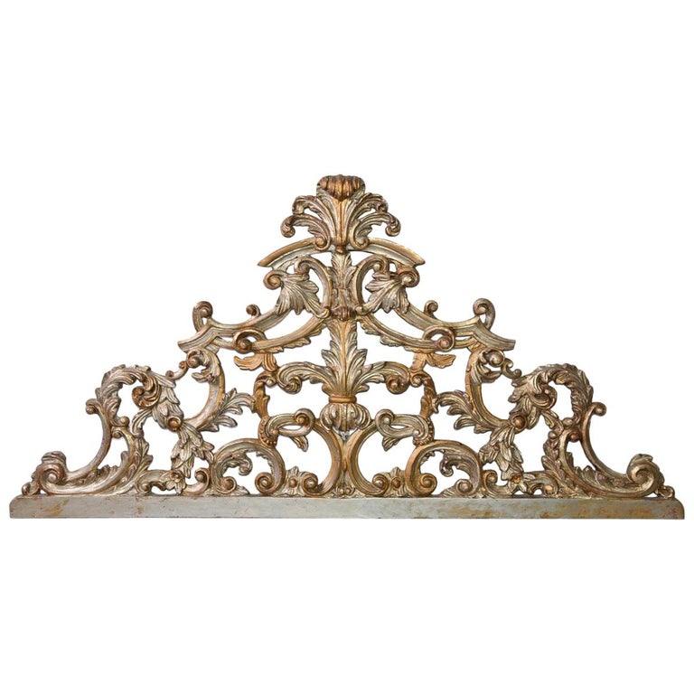 "Antique Silver Gilt Hand-Carved Wood Pediment ""Ciel De Lit"" For Sale"