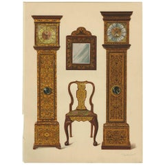 Antique Print of English Furniture 'Clocks, Mirror, Chair' by P. Macquoid, 1906