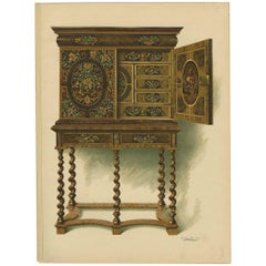 Antique Print of English Furniture 'Walnut Cabinet' by P. Macquoid, 1906