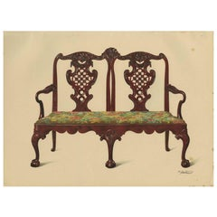 Antique Print of English Furniture 'Settee Miss Mills' by P. Macquoid, 1906