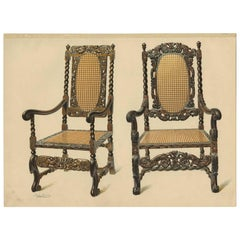 Antique Print of English Furniture 'Two Chairs' by P. Macquoid, 1906