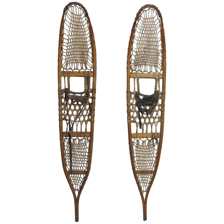 Pair of Antique Snowshoes, American, circa 1930 For Sale