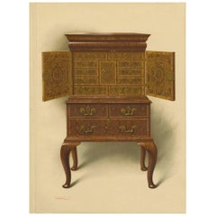 Antique Print of English Furniture 'Walnut Cabinet E. Dent' by P. Macquoid