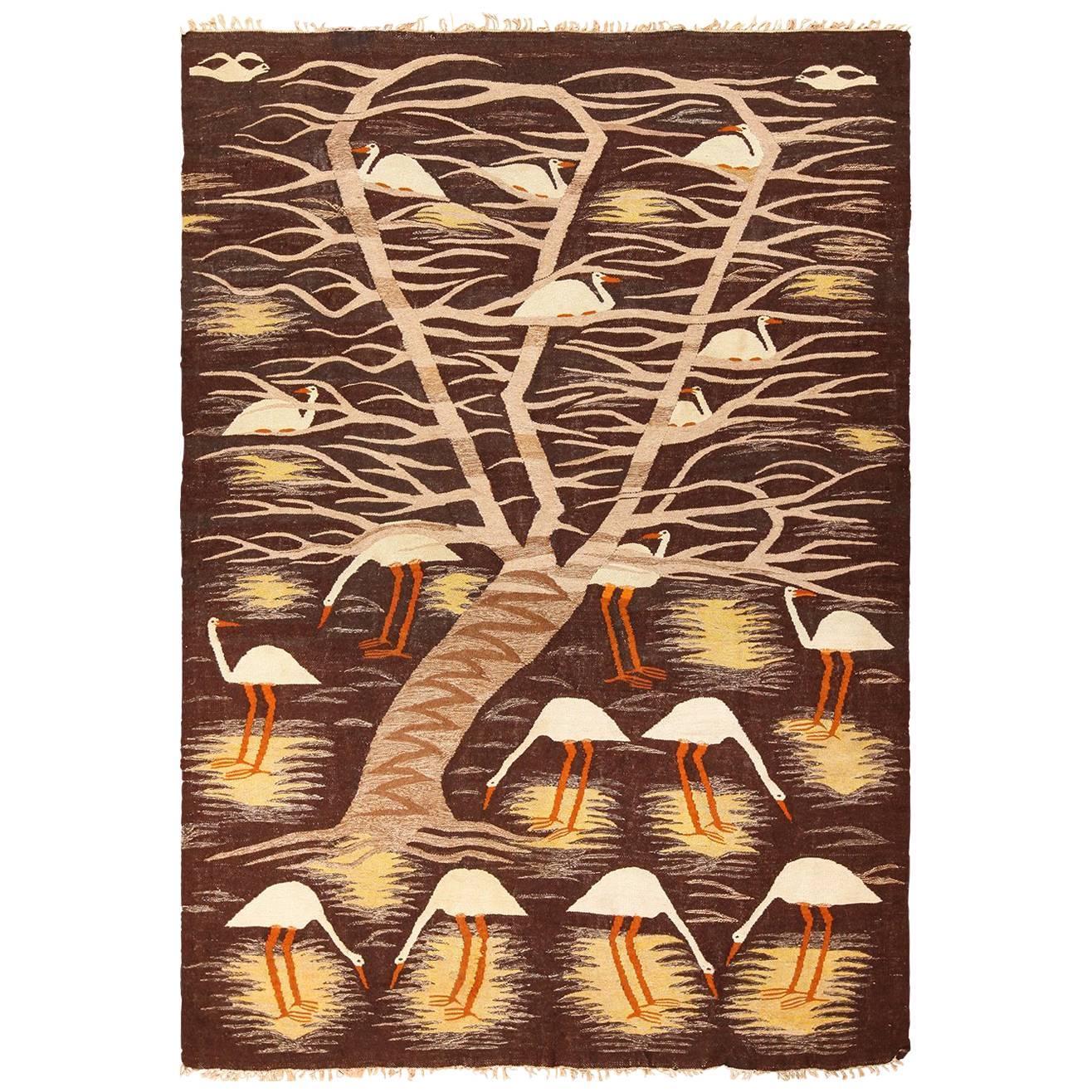 Naturalist Scene Vintage Scandinavian Kilim Rug. Size: 5 ft 9 in x 8 ft