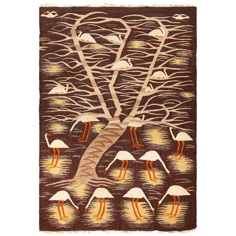 Naturalist Scene Vintage Scandinavian Kilim Rug. Size: 5 ft 9 in x 8 ft  For Sale