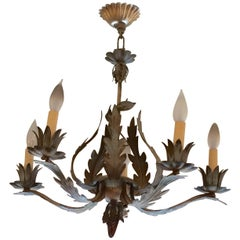 Rustic Vintage Distressed Tole Chandelier