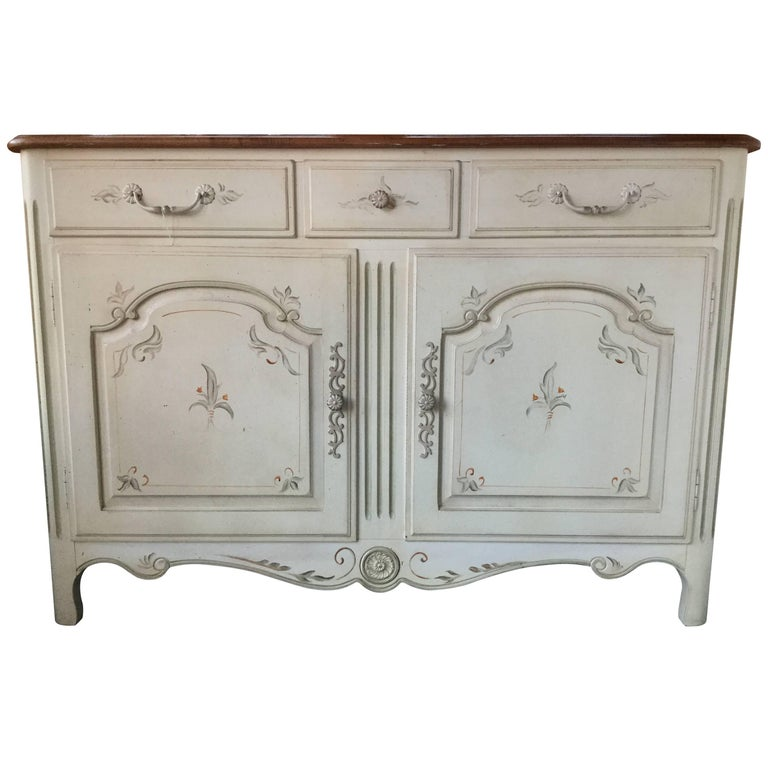 Hand Painted Ethan Allen Louis Xv Style Buffet Sideboard For