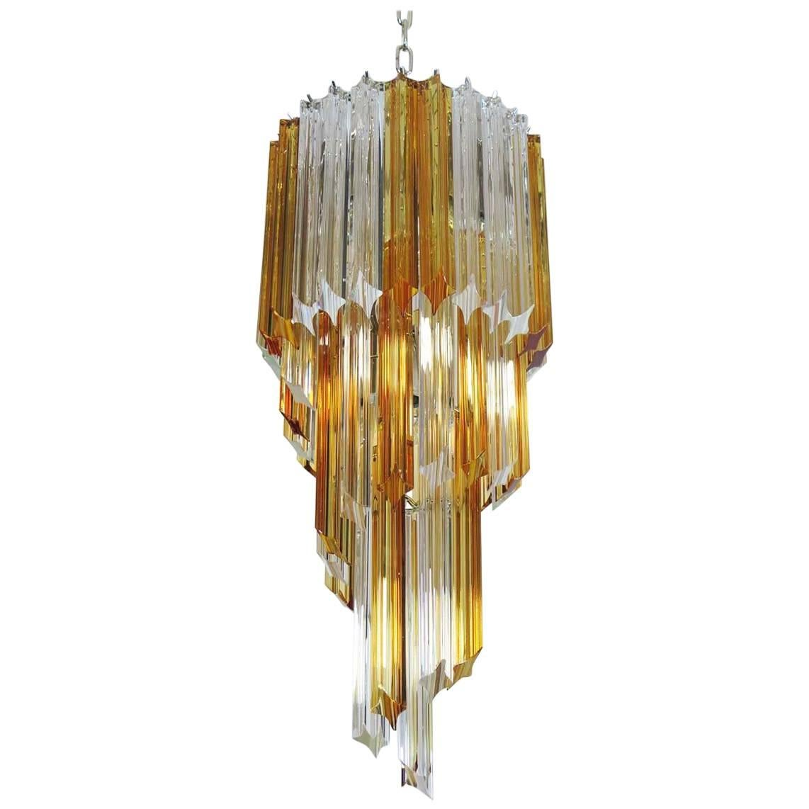 Murano Vintage Chandelier – 54 Quadriedri Prisms Transparent and Amber