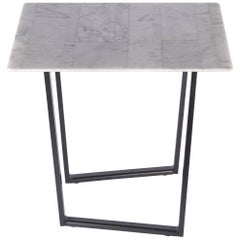 Square Dritto Side Table in Recycled Bianco Carrara Marble by Piero Lissoni