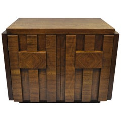 Lane Brutalist Nightstand Bedside Table Cabinet Vintage Mid-Century Modern Chest