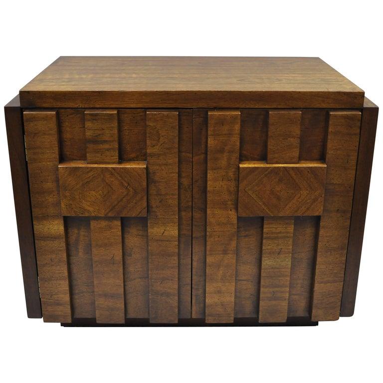 Lane Brutalist Nightstand Bedside Table Cabinet Vintage Mid-Century Modern Chest