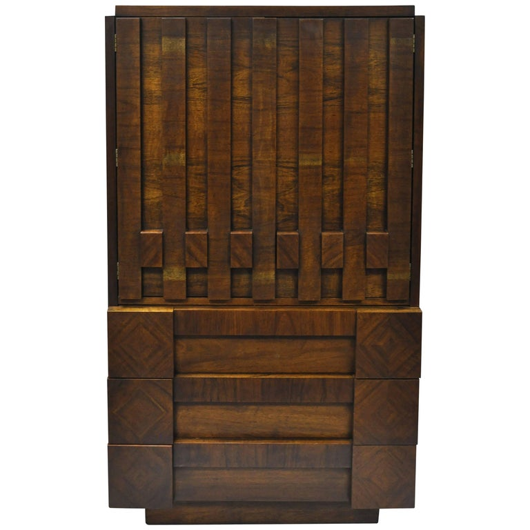 Lane Brutalist Block Front Tall Chest Gentlemans Wardrobe Modern Dresser Cabinet For Sale
