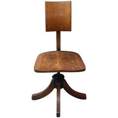 1920s Adjustable Oak Office Chair in Dark Wood