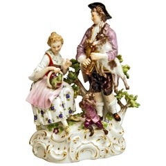 Meissen Shepherds Figurines Allegory the Hearing by Carl C. Punct Made