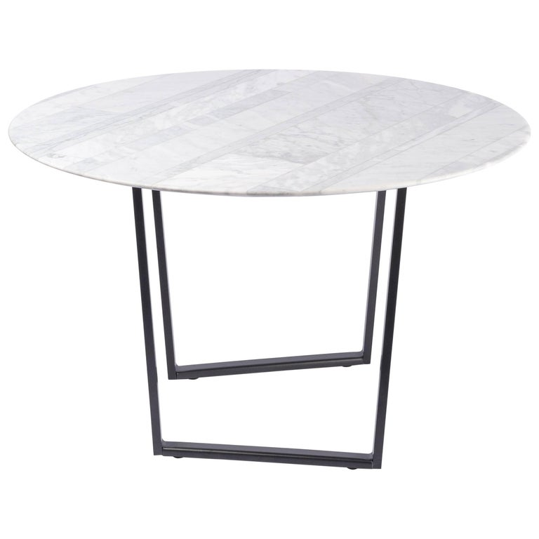 Salvatori Round Dritto Side Table in Lithoverde® Bianco Carrara by Piero Lissoni