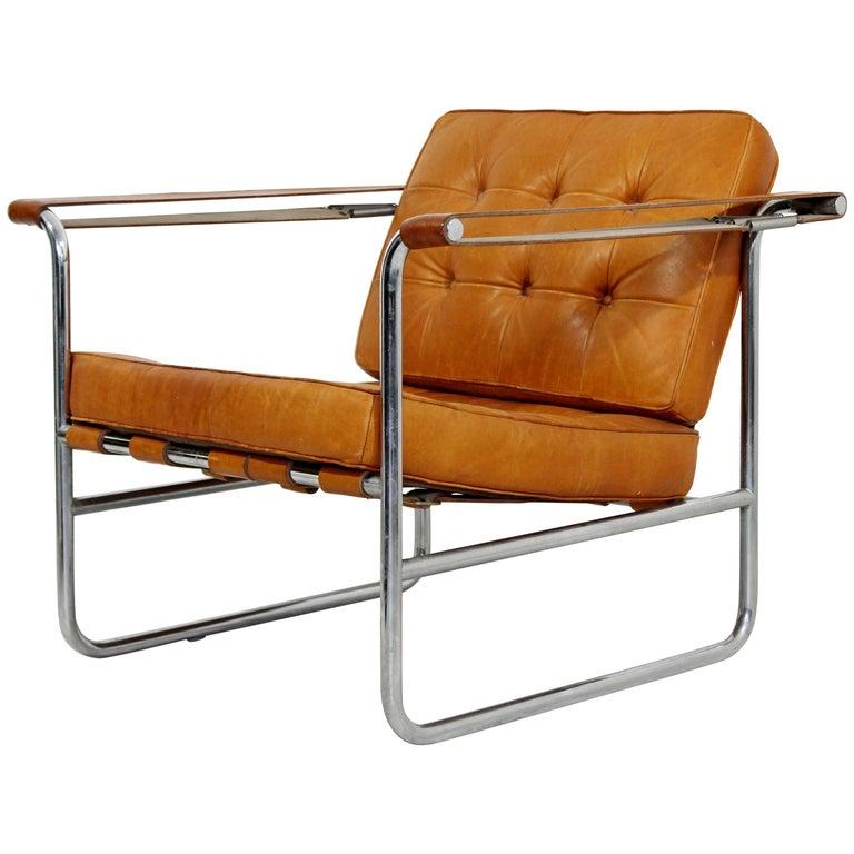 Mid-Century Modern Hans Eichenberger De Sede Stendig Leather Chrome Chair 1970s