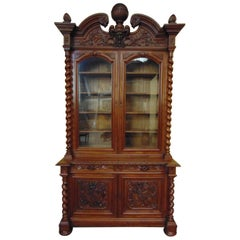 Bookcase Hand-Carved Style Louis XIII, circa 1880