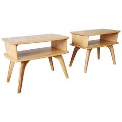 Mid-Century Modern Heywood Wakefield Two-Tier Side Tables, Pair