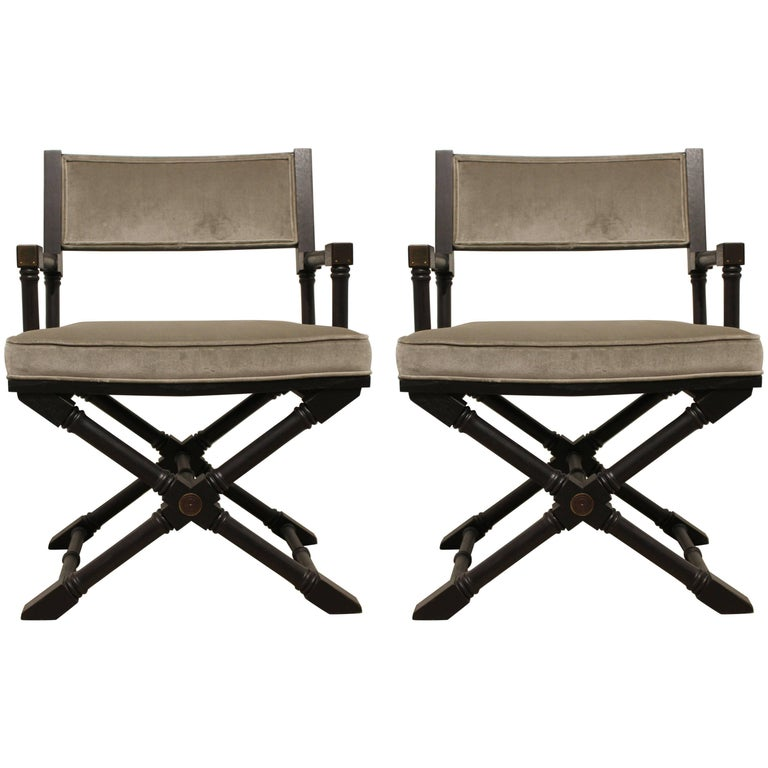 Pair of Campaign Style Black Stained Armchairs in Grey Velvet w/ Brass Detailing