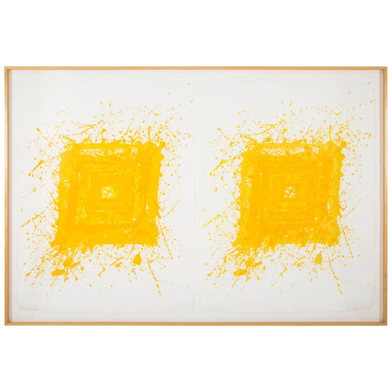 """Generated"" Composed of Two Lithographs by Sam Francis Framed in Maple Frame"