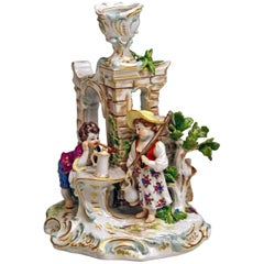 Meissen Candlestick with Figurines Gardener Children Model R 185, circa 1870