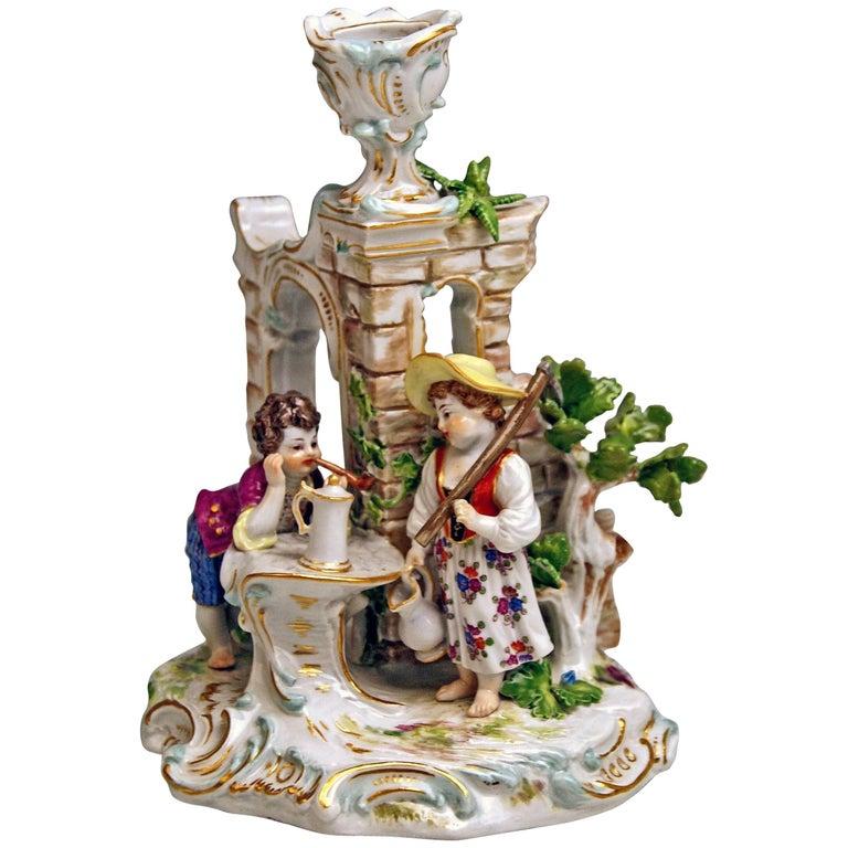 Meissen Candlestick with Figurines Gardener Children Model R 185, circa 1870