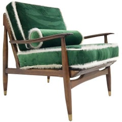 Vintage Lounge Chair Attributed to Finn Juhl in Schumacher Silk Velvet & Cowhide
