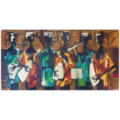 Mid-Century Modern Abstract Figurative Cubist Oil Painting on Canvas