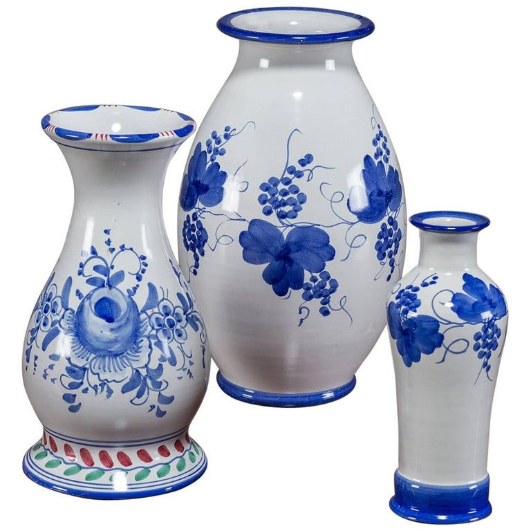Set Of Three Blue And White Hand Painted Italian Vases By Solimene