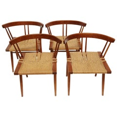 George Nakashima Cherry Grass-Seat Chairs