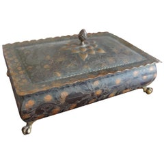 Arts and Crafts Style Copper Box with Acid Etched Leaf Motifs on Brass Claw Feet
