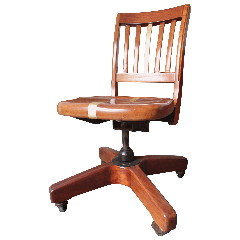 1940's Office Chair in Red Cedar Wood, Gold Leaf Stripe
