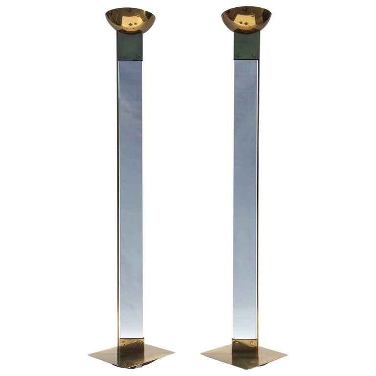 Pair of Max Baguara Floor Lamps, Torchieres, Brass and Glass