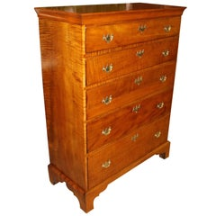 18th Century New England Chippendale Tiger Maple Five Drawer Tall Chest