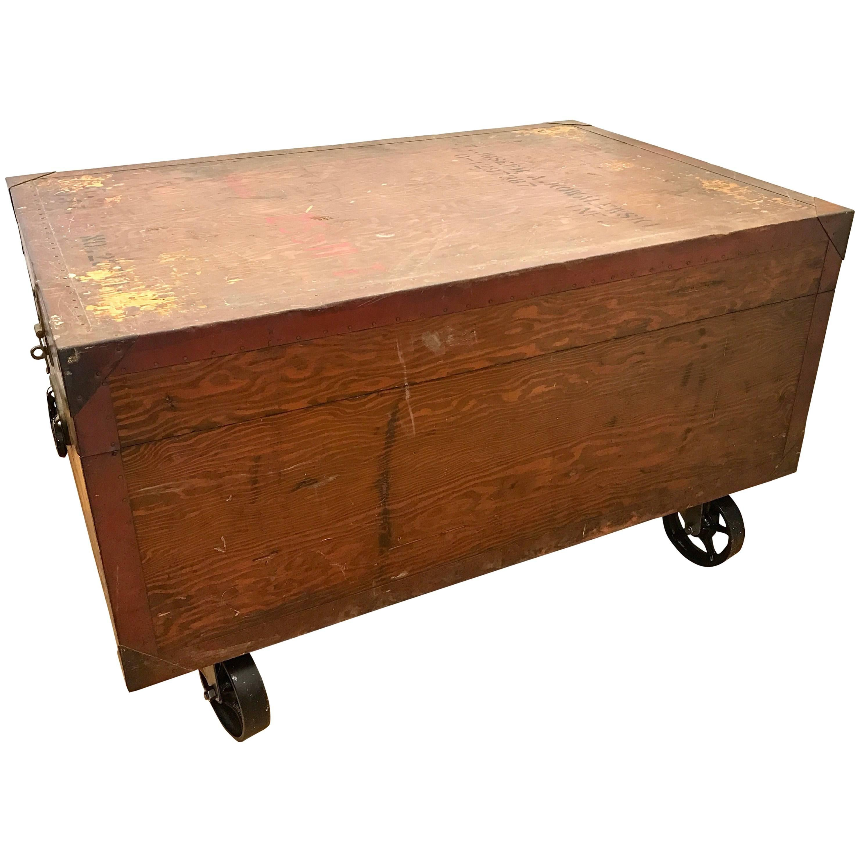 Beau Antique Industrial Wood Trunk Coffee Table