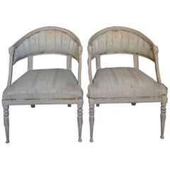 Pair of Swedish Neoclassical Style Barrel Back Armchairs