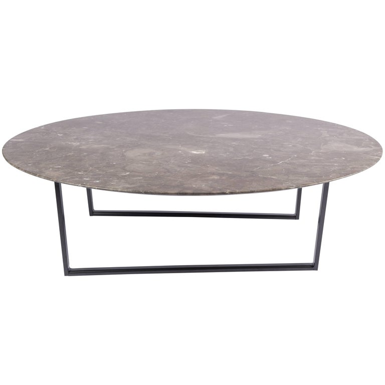 Salvatori Medium Round Dritto Coffee Table in Gris du Marais by Piero Lissoni