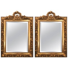 Pair oOf Gilt Gesso and Wood Ribbon Tassle Rose Carved Mirrors