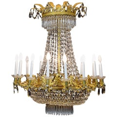 Empire Bronze and Glass Chandelier, Possibly, Claude Galle, France, circa 1815