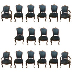 Set of Sixteen Bronze Mounted Louis XV Style Dining Chairs in Black Leather